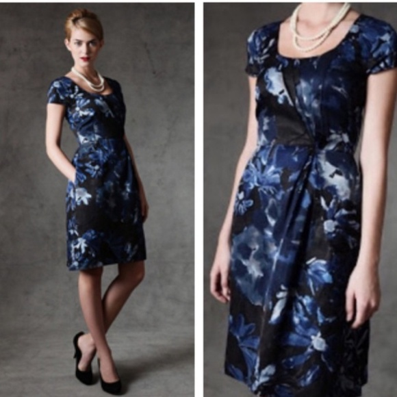 Banana Republic Dresses Nwt Mad Men Blue Floral Dress Poshmark